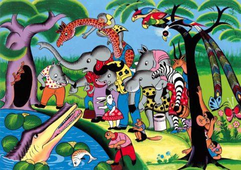 Das Bild, das die Tiere mit dem Krokodil am Fluss zeigt, soll den Leser*innen einen weiteren Einblick in die farbenfrohen Illustrationen des Bilderbuchs geben. Das Buch wurde im Tingatinga Stil illustriert.